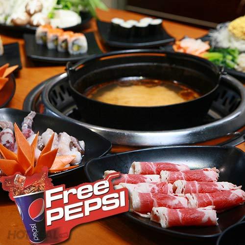 Buffet Lẩu Và Sushi Nhật  Free Pepsi Tại NH Yaki Times City