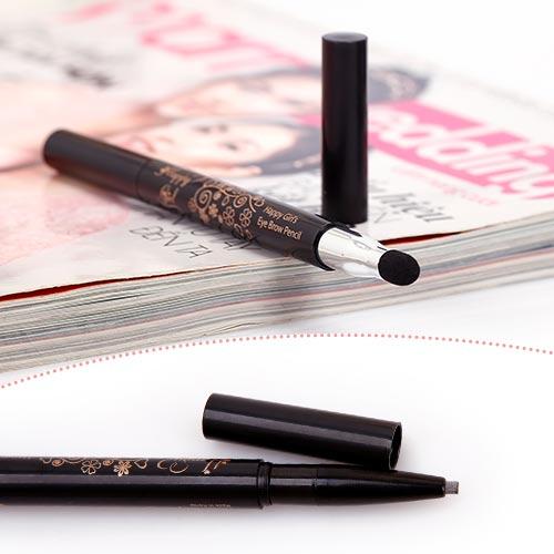 Chì Kẻ Mày 2 Đầu Eye Brown Pencil Happy Girl's - Nhập Khẩu Hàn Quốc