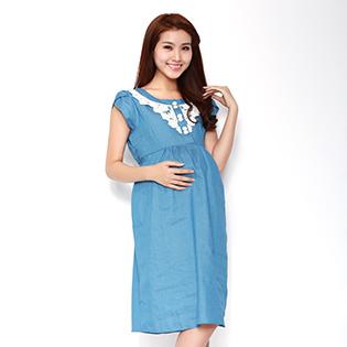 Đầm Bầu Denim Phối Ren Hoa