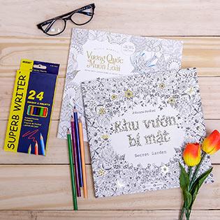 """Sách Tô Màu Người Lớn """"Vương Quốc Muôn Loài"""" + """"Khu Vườn Bí Mật"""" + Chì Màu Superb Writer"""