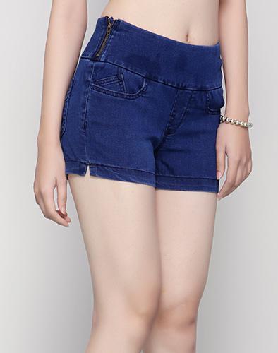 Quần Short Jeans Thun Lưng Cao Dây Kéo Bên Hông