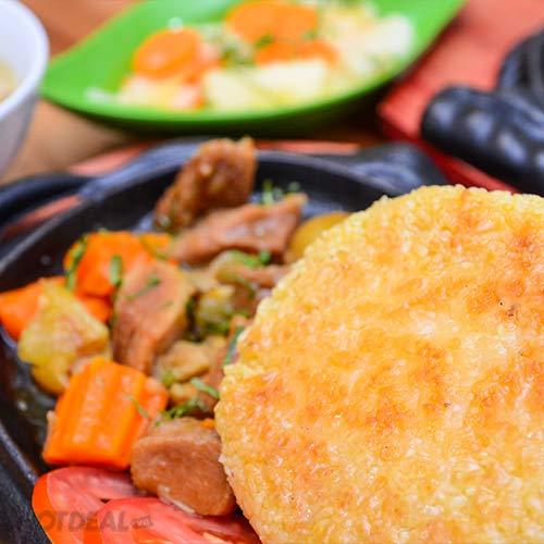 Set Ăn Cơm Cháy Chảo Gang + Đồ Ăn, Uống Tại Ngã Ba Quán
