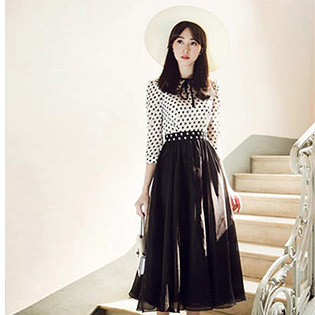 Đầm Vintage Chấm Bi Cao Cấp