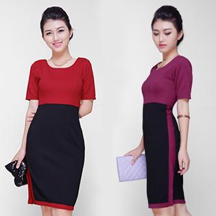 Đầm Ruby Xẻ Tà Phối Màu Cao Cấp