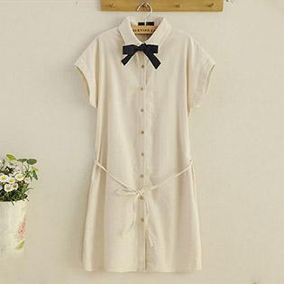 Đầm Linen Đính Nơ