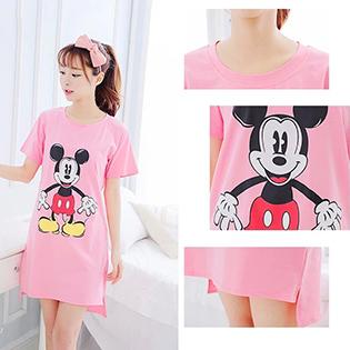 Đầm Thun Mặc Nhà Vạt Lệch Họa Tiết Mickey