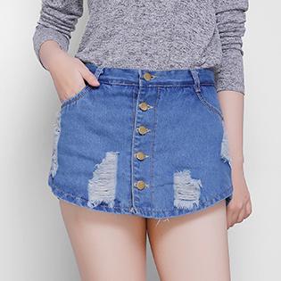Quần Short Jean Giả Váy Đính Nút Mùa Thu