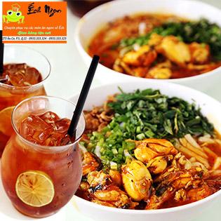 """Lạ Mà Ngon """"Combo 2 Bánh Canh Ếch + 2 Trà Vị Đào"""" Khổng Lồ - Ếch Ngon Restaurant"""