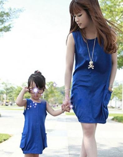 Combo Đầm Thun Cotton Cho Mẹ Và Bé