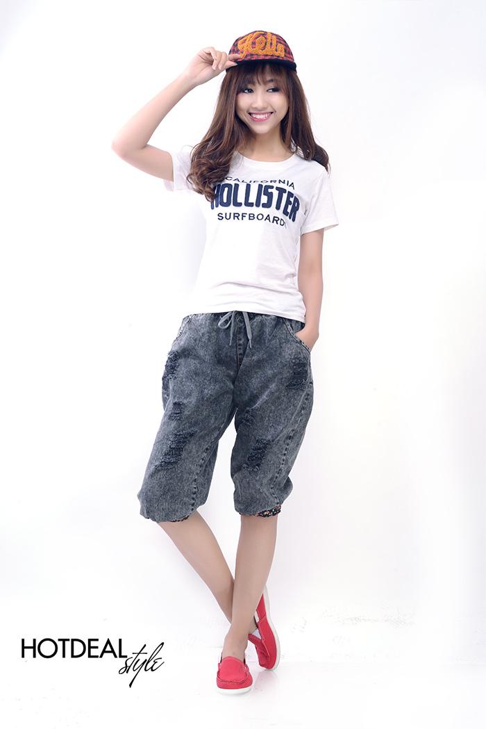 Quần Jeans Baggy Rách Lửng Phong Cách