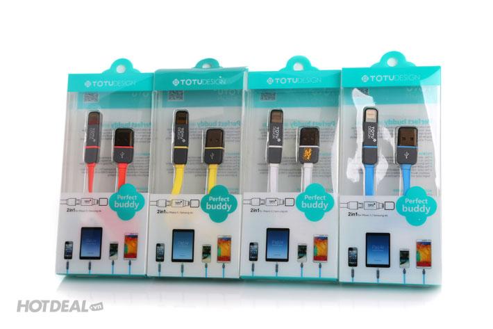 Cáp Sạc 2 Đầu Lightning/ Micro Totu Cho Tất Cả Các Dòng Smartphone
