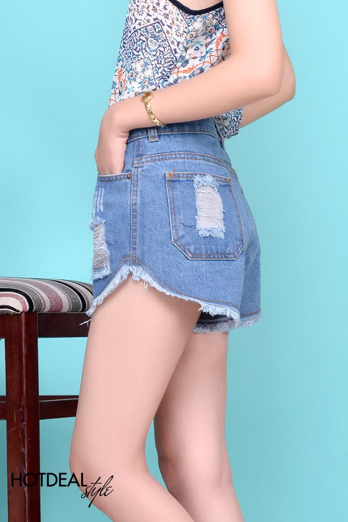 Quần Short Jeans Lưng Cao Wash Rách Năng Động