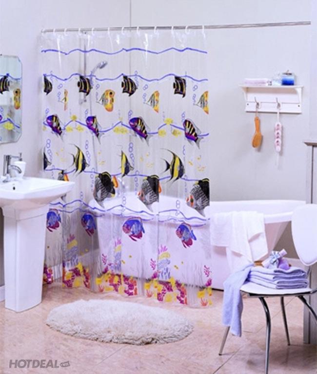 Màn Vải Treo Cửa Sổ/ Phòng Tắm Loại Dày Không Thấm Nước Họa Tiết 3D