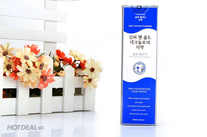 Combo Kem Đánh Răng Sáng Và Tối Hàn Quốc - Silver & Gold 100g