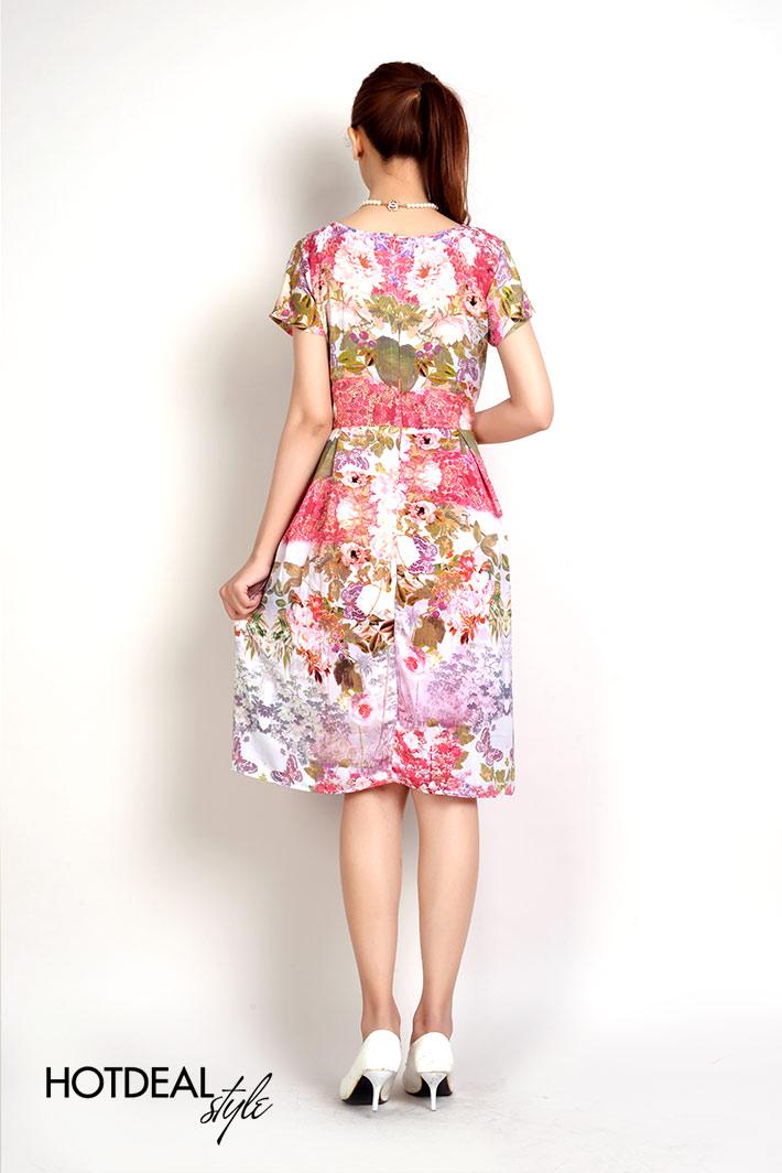 Đầm Hoa Xếp Ly Xinh