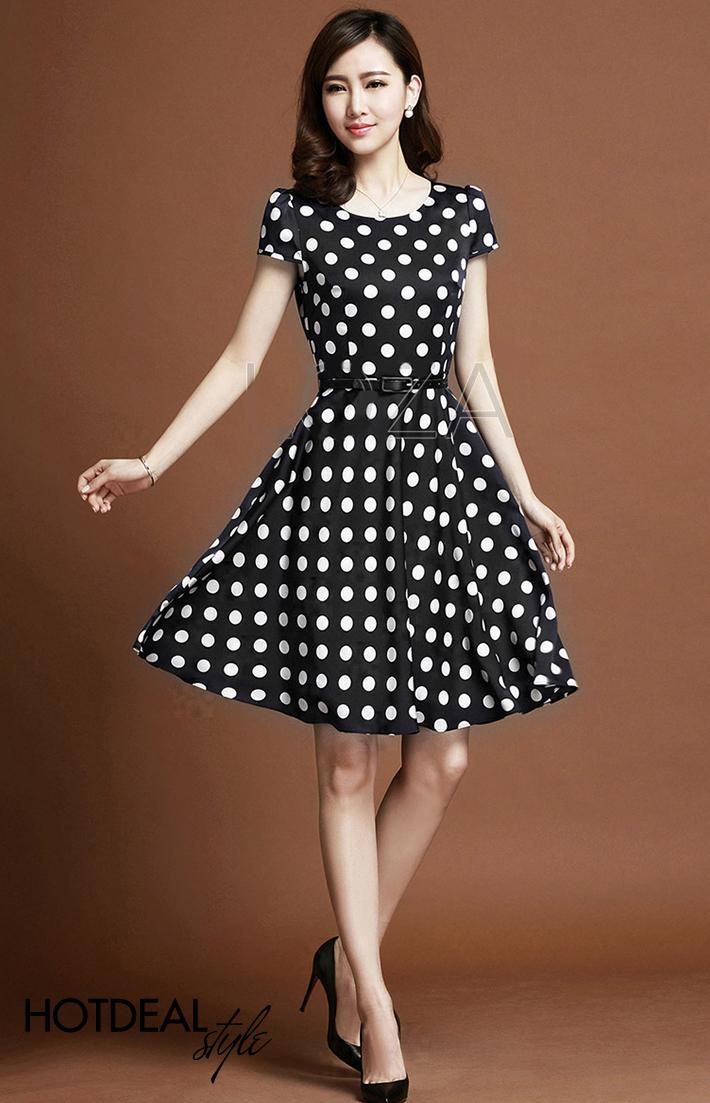 Váy Xòe Chấm Bi Điệu Đà