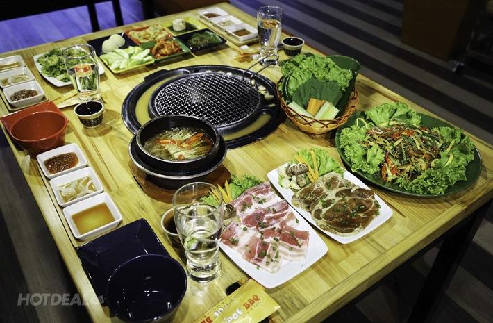 Set Lẩu Nướng Hàn Quốc Cho 04 Người + Free Món Ăn Kèm,Trà Quế
