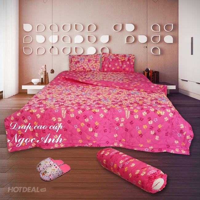 Bộ Drap + Mền Cotton Hàn Quốc 1M8 BST1 Thương Hiệu Ngọc Anh