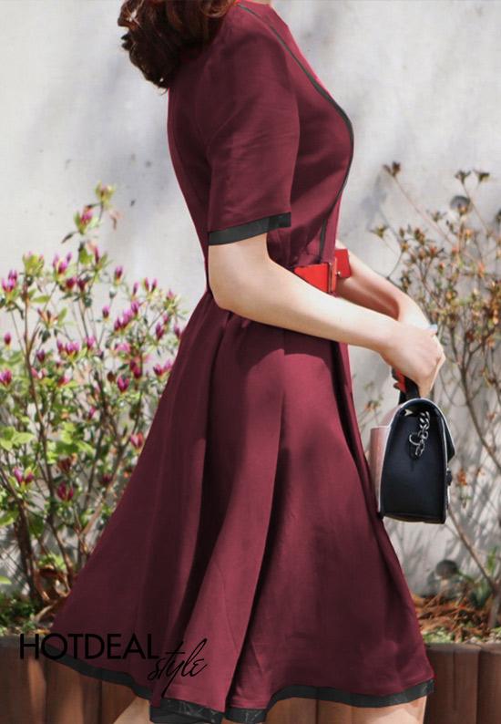 Đầm Xòe Harper Phối Duyên Dáng