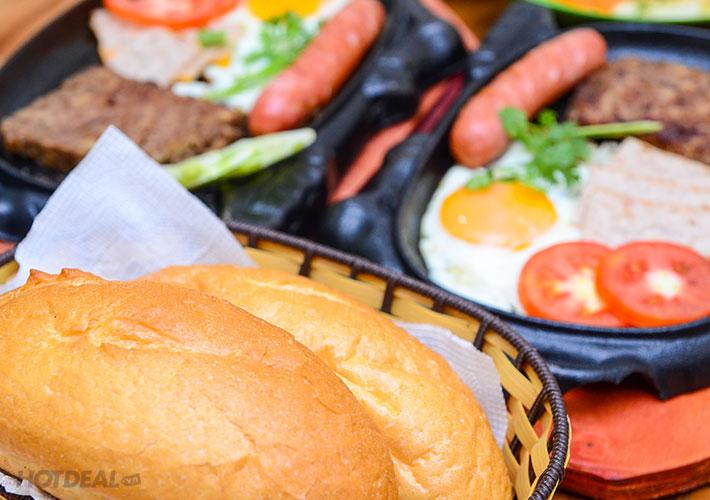 Bánh Mỳ Chảo Đầy Đủ + Đồ Ăn Kèm Và Nước Ngọt Cho 2 Người