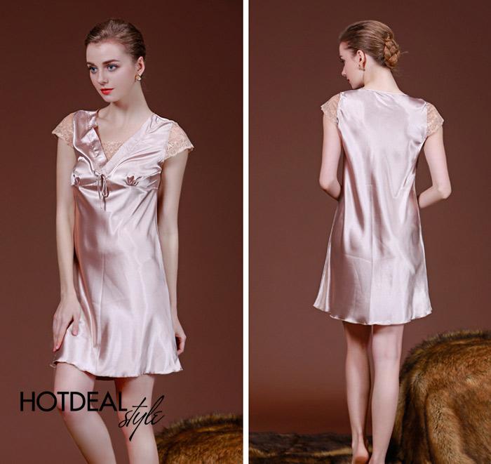 Đầm Ngủ Phi Lụa Cổ Tim Cao Cấp